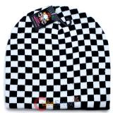 Black and White Checkered Beanie Chess Board Hat