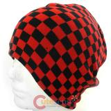 Black and Red Checkered Beanie Chess Borad Hat
