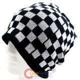 Black and White Checkered knitted  Beanie Chess Board Hat