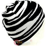 Black and Whtie Zebra Beanie Animal Knitted Hat