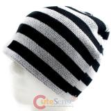Black and White Stripe knitted  Beanie Hat