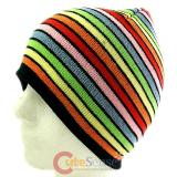 Glittering Mix Color Stripe knitted  Beanie Rainbow  Hat