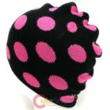 Pink Polka Dots knitted Beanie In Black Hat