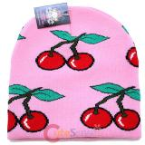 Large Cherry knitted Beanie In Pink Hat