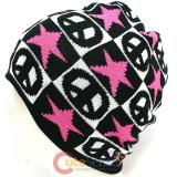 Pink Star Peace Mark knitted Beanie Hat