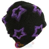 Furry Purple Star All Over knitted Beanie Hat