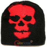 Furry Big Red Skull knitted Beanie Hat in Black