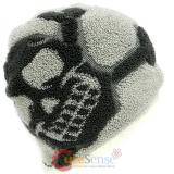 Furry Big Grey Skull Crossbones knitted Beanie Hat