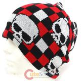 Black and Red Checker Board with Skull knitted Beanie Hat