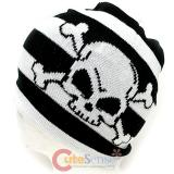 Black and white Stripe with Skull Crossbones knitted Beanie Hat