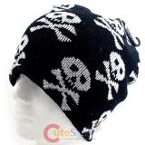 Skull Crossbones All Over Beanie  in knitted Black  Hat