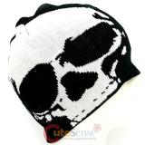 Large White Big Skull Beanie  in knitted Black  Hat