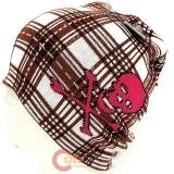 Brown Checker Plaid Beanie  with Pink Skull Crossbones knitted Hat