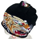 Big Tiger Beanie  in knitted Black Hat