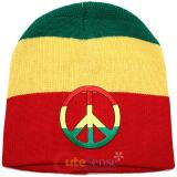 Wide Rasta Stripe Beanie with Peace Mark Patch in knitted Hat