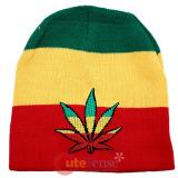 Wide Rasta Stripe Beanie with Pot Leaf Patch in knitted Hat