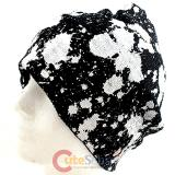 White Paint Drop All Over Beanie  in knitted Black  Hat