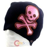 Alien skull Cross Bones Patch Beanie in Black knitted Hat