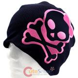 Cute Bow Alien skull Cross Bones Patch Beanie in Black knitted Hat