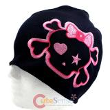 Large Cute Bow Skull Cross Bones Patch Beanie in Black knitted Hat with Star Eye