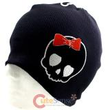 Cute Red Bow Alien Skull  Patch Beanie in Black knitted Hat