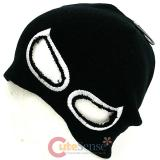 Devil Eye Beanie in Black knitted Hat with Eye Holes : White Eye