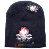 Flaming Skull Crossbones Patch Beanie in Black knitted Hat