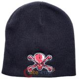 Bloody Skull Crossbones Patch Beanie in Black knitted Hat
