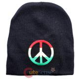 Rasta Striped Peace Mark Beanie in Black knitted Hat