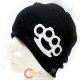 White Figure Buckle  Beanie in Black knitted Hat