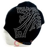 Large Gothic Cross Beanie in Black knitted Hat- Bling Silver Dots