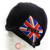 UK Flag  Union Jack England  Patch Beanie in Black knitted Hat
