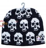 White Skulls All Over Beanie  in knitted Black  Hat