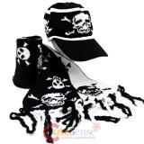 Skull Crossbones All Over knitted Beanie Cap with Scarf -Black