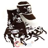 Skull Crossbones All Over knitted Beanie Cap with Scarf -Brown