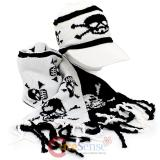 Skull Crossbones All Over knitted Beanie Cap with Scarf -White