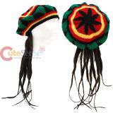 knitted  Rasta Beret  Hat with Hair Wig