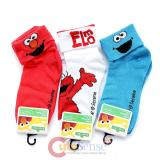 Sesame Street Elmo and Cookie Monster  3 Pair Cuff Socks Set  Size 6-8