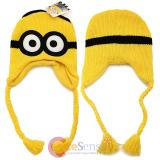 Despicable Me Minion Knitted Beanie Laplander Hat - Embossed 2 Eye