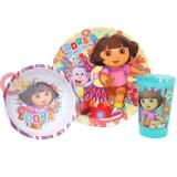 Dora The Explorer Dora with Boots  3Pc Kids Dining / Dinnerware Set