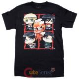 Attack on Titan 5 Character Montage Mens T Shirts Animation T - Size M