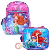 Disney Little Mermaid Ariel Large School Backpack Lunch Bag Set :Magical Bows
