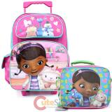 "Disney Jr. Doc Mcstuffins 16"" Large School Roller Backpack with Lunch Bag Set :Doctors office"