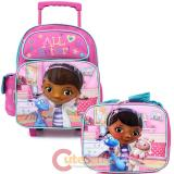 "Disney Jr. Doc Mcstuffins 12"" Small School Roller Backpack with Lunch Bag Set -Doctors office"