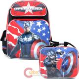 "Marvel Avengers Captain America 16""  Large School Backpack Lunch Bag Set -Great Bravery"