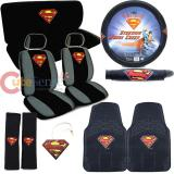 DC Comics Supreman Shield Logo  Car Seat Covers Auto Accessories Set with Rubber Mat