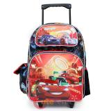 "Cars McQueen School Roller Backpack 16"" Large Rolling Bag-Neon Light"