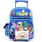 "Adventure Time School Roller Backpack 16"" Large Rolling Bag -New Friends"