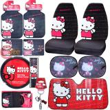 Hello kitty Core Car Seat Covers Accessories Compleate 12pc with Full Sunshade