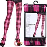 Leg Avenue Pink Black Plaid Opaque Pantyhose Stockings Socks Woven Plaid